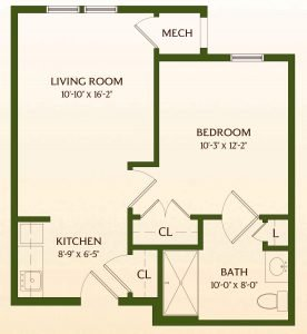 Floor Plan of One-Bedroom Assisted-Living Apartment Home