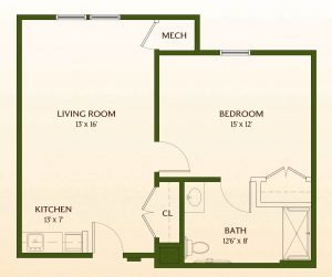 Floor Plan of One-Bedroom Deluxe Assisted-Living Apartment Home