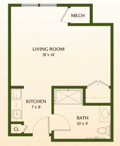 Floor Plan of Studio Assisted-Living Apartment Home