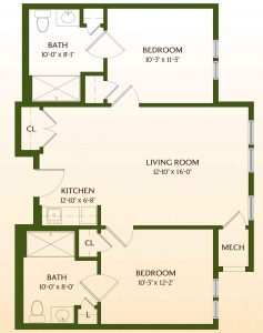 Floor Plan of Two-Bedroom Assisted-Living Apartment Home